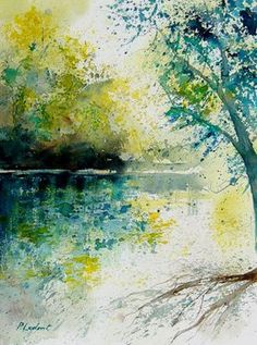 Pol Ledent; Painting, watercolor 2. Enjoy the color pallet and the simple style!