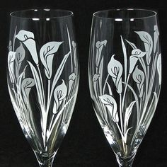 NEW 2 Calla Lily Wedding Champagne Flutes Fine by bradgoodell