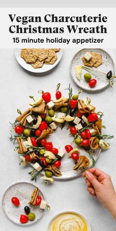 Looking festive vegan charcuterie board ideas for the holidays? Look no further. This Christmas wreath snack board is assembled with fresh rosemary and skewers of vegan deli meat, vegan cheese, tomatoes, peppers, olives, and artichoke hearts. Serve with crackers and hummus for a delicious holiday appetizer. #vegan #veganchristmasrecipes #vegancharcuterieboard #vegansnackboard #christmasrecipes #vegansnackrecipes #veganholidayrecipes #vegansnackideas #veganpartyrecipes #veganappetizers Vegan Appetizers, Holiday Appetizers, Vegan Snacks, Holiday Recipes, Christmas Recipes, Holiday Foods, Vegan Meals, Vegan Food, Delicious Vegan Recipes