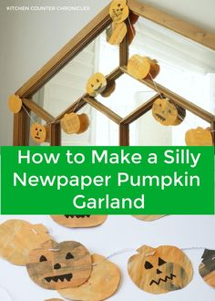 Here's a creative Halloween craft for kids of all ages to make. Transform old newspaper into a silly pumpkin garland. Creative and eco-friendly. #greenhalloween #halloweencraftforkids #kitchencounterchronicles #halloweenactivityforkids #newpapercraft Halloween Activities For Toddlers, Toddler Halloween, Homemade Halloween, Halloween Crafts For Kids, Crafts For Kids To Make, Halloween Fun, Activity Ideas, Happy Kids, Newspaper
