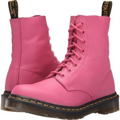 Dr. Martens Pascal 8-Eye Boot (Hot Pink Virginia) Women's Lace-up... ($108) ❤ liked on Polyvore featuring shoes, boots, pink, slip resistant shoes, low boots, hot pink boots, pink platform shoes and dr martens boots
