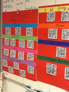Qr codes Achter iedere code hangt een werkblad. Zo kunnen kinderen zelf een beetje bepalen wat ze doen tijdens zelfstandig werk