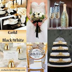Gold, blk and white