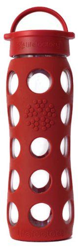 Lifefactory Unisex Glass Bottle with Classic Cap 22 oz Red Water Bottle 22 oz ** Click image for more details.(This is an Amazon affiliate link)