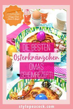 Oster-Traditionen - Omas Rezept für Oster Hefe-Kränzchen, echtes Familienrezept. Hefeteig, der saftig ist & mit meinen Tipps garantiert gelingt!Hefekränzchen - nicht nur für Ostern. Hefeteig super lecker und mit meinen Tipps leicht selbst gemacht. Auch eine hübsche Geschenkidee. #stylepeacock #rezept #Backrezept #yummy #baking #backen #backingporn #foodporn #easter #foodblog #backblog #yeastdough #sweetbun #donut #doughnut #osterrezept #recipe #backen #hefe #teig #kranz #hefezopf #osterhase Sandwich Torte, Frosted Flakes, Tea Time, Lifestyle Blog, Cereal, Breakfast, Food, Easter Food, Knot Bun