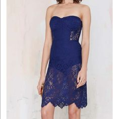 For Love & Lemons Midnight Lace Dress Worn once. Dry cleaned. Beautiful dark blue lace dress. Bodysuit style under the lace. One of my favorite dresses but don't wear too often. For Love and Lemons Dresses
