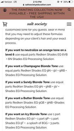 Redken Color Formulas, Hair Color Formulas, Hair Cutting Techniques, Hair Color Techniques, Redken Toner, Hair Color Placement, Redken Hair Color, Pulp Riot Hair Color, Redken Hair Products
