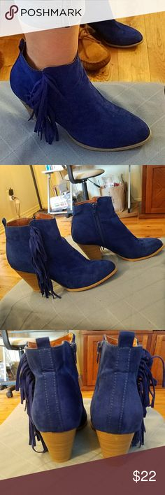Royal Blue Booties from #shophopes Fringed, moderate heel, comfy Shoes Ankle Boots & Booties