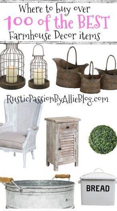 home decor items This is the Best list of over 100 Farmhouse Decor Items. Decorate your dream home on a budget. You will absolutely love all of this decor. It is all so gorgeous and adds the perfect touch of neutral farmhouse style. Country Farmhouse Decor, Farmhouse Furniture, Vintage Farmhouse, Rustic Furniture, Rustic Decor, Farmhouse Style, Farmhouse Lighting, Rustic Style, Modern Farmhouse