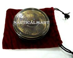 Antique Shinny Color Brass Calender Pocket Compass With Robert Frost Poem Easy To Repair Antiques Maritime Compasses