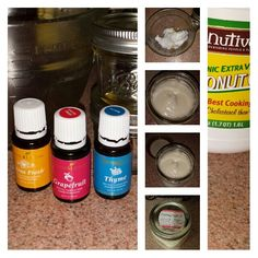 Super easy Mommy-Made Non-toxic Cellulite cream  What is needed: Measuring utensils, mixer, big glass bowl for blending, (2) 8 glass storage containers...recycled or new  2 cups of organic coconut oil 45 drops of Young Living Therapeutic Grade™, Citrus Fresh 35 drops of Young Living Therapeutic Grade™, Thyme 25 drops of Young Living Therapeutic Grade™, Grapefruit   In large glass bowl blend all ingredients together. Fills (2) 8 oz glass containers.