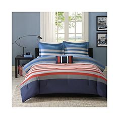 #awesome The MI zone #Kyle comforter set provides a stylish update to your boy's room. The printed deep red and Blue stripes work perfectly against the bright wh...