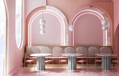 2020 color trends home - Interior Design - Home Decor Interior Pastel, Flat Interior, Cafe Interior Design, Commercial Interior Design, Cafe Design, Commercial Interiors, Home Interior, Design Retro, Pink Design