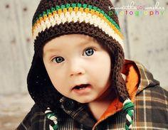 Crochet Hat Pattern Baby Boy Crochet Hat Earflap Beanie Aviator Four Stripe PDF 250 Newborn to Preteen Photo Prop Permission to Sell Hat. $4.99, via Etsy.