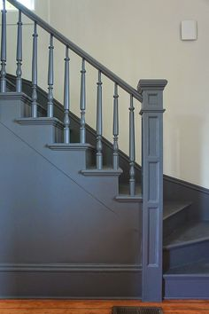 Victorian Architecture - Chic Design Investments: The Morrison House: A Modern Victorian Farmhouse Stair Spindles, Staircase Railings, Staircase Design, Stairways, Bannister, Iron Railings, Painted Staircases, Painted Stairs, Victorian Farmhouse