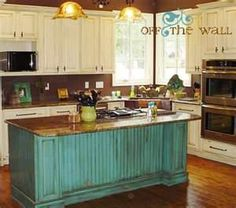 teal kitchen island and antique white cabinets Teal Kitchen, Kitchen Redo, Country Kitchen, Kitchen Remodel, Kitchen Island, Turquoise Kitchen, Turquoise Cabinets, Kitchen Cabinets, Kitchen Colors