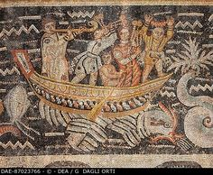 ALGERIA ROMAN MOSAIC ART OF TOILET OF VENUS SPECIAL BOARD WITH BOAT AND MUSICIAN FROM Cuicul  Djemila, Musée De Djemila (Archaeological Museum)