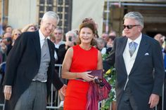 Nikolaus, Margaretha and her cousin Prince Laurent at the wedding of Prince Felix and Clair Lademacher in Luxembourg.