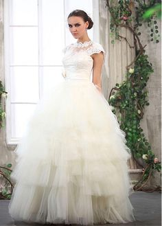 Buy discount Amazing Tulle & Satin With Lace Appliques Ball Gown Cap Sleeves Wedding Dress at Dressilyme.com