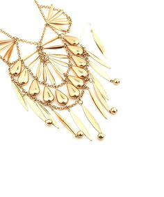 Take a look at this Gold Teardrop Necklace & Earrings by Buy in America on #zulily today!