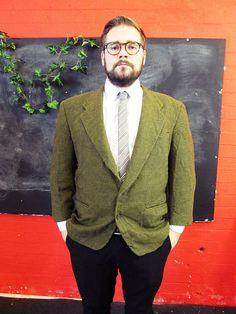 Vintage 1970s Brown Yellow Tweed HOUNDSTOOTH Blazer Jacket Large