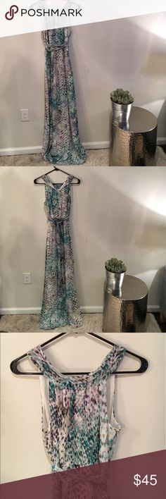 NWOT VINCE CAMUTO long maxi dress!!! Never worn GORGEOUS long maxi dress with a high neckline and belted waistline. Flowy and light and PERFECT for summer Vince Camuto Dresses Maxi