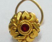 18k antique Rajasthan tribal gold nose stud