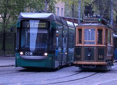 Old an new, the age difference between these two is 93 years. Trams in Liisankatu, Helsinki Sauli Vähäkoski