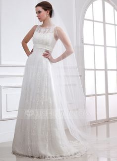 Wedding Dresses - $230.49 - A-Line/Princess Scoop Neck Sweep Train Satin Tulle Wedding Dress With Lace Beadwork (002004543) http://jjshouse.com/A-Line-Princess-Scoop-Neck-Sweep-Train-Satin-Tulle-Wedding-Dress-With-Lace-Beadwork-002004543-g4543?ver=xdegc7h0