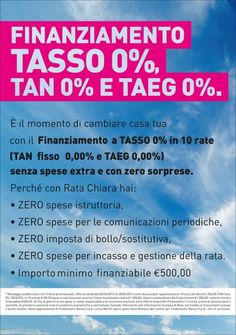 Approfitta del tasso zero!
