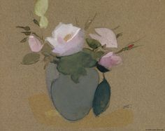 Helene Schjerfbeck, Roses in a Blue-Green Vase, ©Ateneum, Finnish National Gallery. Still life artwork from a Scandinavian artist. Modern painting of abstract flowers. Helene Schjerfbeck, Green Vase, Blue Green, Collaborative Art, Plant Illustration, Pictures To Paint, Painting Inspiration, Flower Art, Female Art