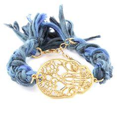 Multi Denim Vintage Ribbon Bracelet with Skull Charm