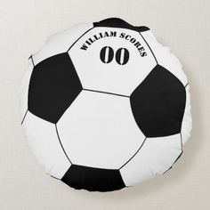 Football Soccer Ball Pillow With Name Number Zazzle Com In 2020 Soccer Ball Football Soccer Soccer