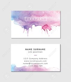 Watercolor Business Card Template                                                                                                                                                      More