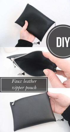 DIY Makeup bag with faux leather.- DIY Makeup bag with faux leather. DIY Makeup bag with faux leather. Diy Bags Purses, Diy Purse, Sew Bags, Diy Makeup Bag No Sew, Diy Makeup Bag Tutorial, Pouch Tutorial, Easy Makeup, Makeup Bags, Leather Pouch