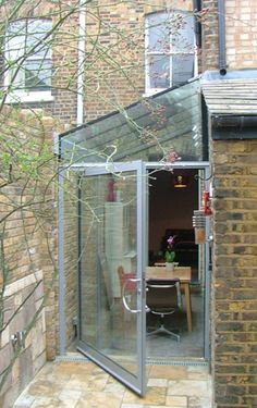 Pivot Door for those awkward places. Glass Roof Extension, House Extension Design, House Design, Extension Ideas, Victorian Terrace, Victorian Homes, Lean To Roof, Side Return Extension, Open Plan Kitchen Living Room