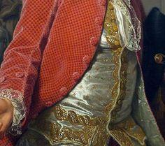 Particolari di opere: Ritratto di Jean-Jaques Caffieri. Adolf-Ulrik Wertmuller, olio su tela del 1784. Museo of Fine Arts, Boston, USA. La marsina è di velluto con disegno geometrico ed uguali sono i bottoni ma sotto contrasta il gilet bianco e lungo foderato di pelliccia rasa con i ricami oro: bellissimo e delicato il sottile pizzo dello jabot e del polsino.