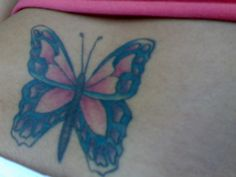 Colored Butterfly Tattoo On Lowerback