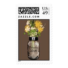 Mason Jar filled with Wilflowers Postage