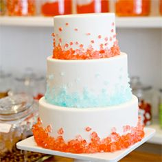 A gorgeous traditional three-tiered round cake, added with rock candy. Perfect for a fun and whimsical candy themed wedding!