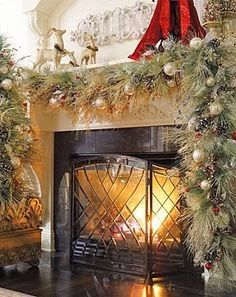 Decor: Mantle Garland For Christmas,and Love The Fireplace Screen