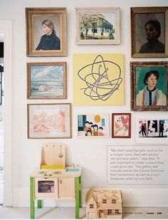 Grown-up art plus children's creations, together on the walls. From Lonny Mag via Simple Lovely.