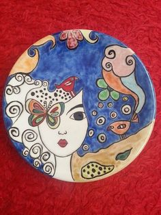 Pottery Painting, Ceramic Painting, Ceramic Art, Pottery Plates, Ceramic Plates, Color Me Mine, Arte Country, Madhubani Painting, Painted Plates