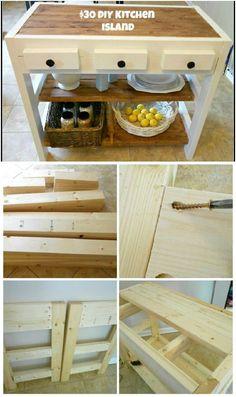 Bricolaje de madera Isla de cocina