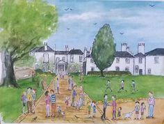'Pembroke Lodge, Richmond Park'.  Print from watercolour, Richmond Park, Richmond, London.  By London-based artist, Caroline Sayer See more at: www.carolinesayer.co.uk