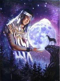 Moon Maiden - Wolf & Indian Native American Wolves T-Shirt Adult XL Tee by The Mountain