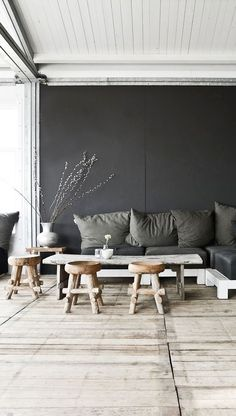 Modern rustic home in grey hues - Decoration suggestions - House interior ideas - Sneaky way to combine living room with eating space. Combine little chairs with a higher table however. Interior Design Inspiration, Home Interior Design, Interior Architecture, Interior And Exterior, Interior Ideas, Design Ideas, Design Styles, Inspiration Boards, Interior Styling