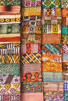 Batik Cloth displayed in Market - Kumasi - Ghana  - photo by Adam Jones