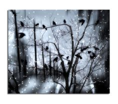 Surreal Snow Metallic  Blue Winter Digital Art by gothicrow, $17.00