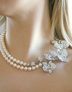 Bridal pearl necklace, Orchid pearl necklace. Double strand Crystals and Pearls bridal necklace, wedding jewelry - Style 403 - Made to Order. $135.00, via Etsy.